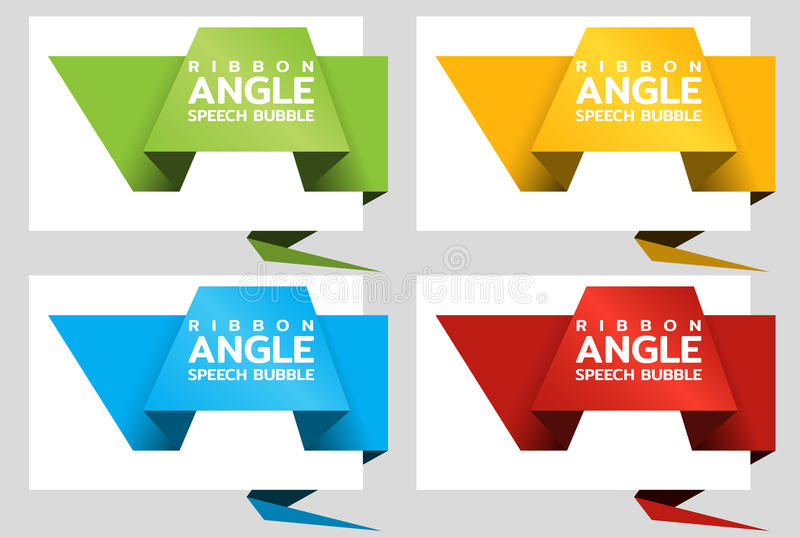 Origami angle paper banners like speech bubble. Price tag template for catalog. Color stickers. Vector royalty free illustration
