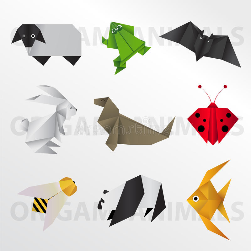 Origami animal collection vector illustration