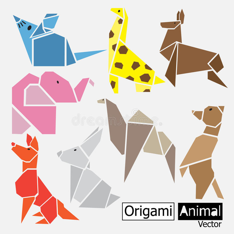 Origami animal design. Art set vector illustration