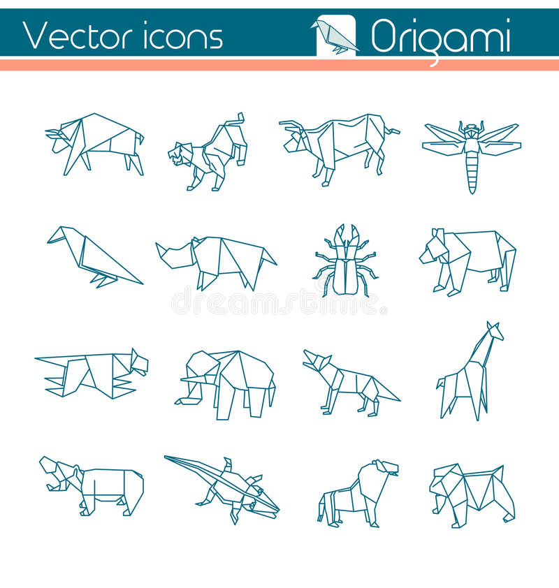 Origami animal, icônes de vecteur illustration de vecteur