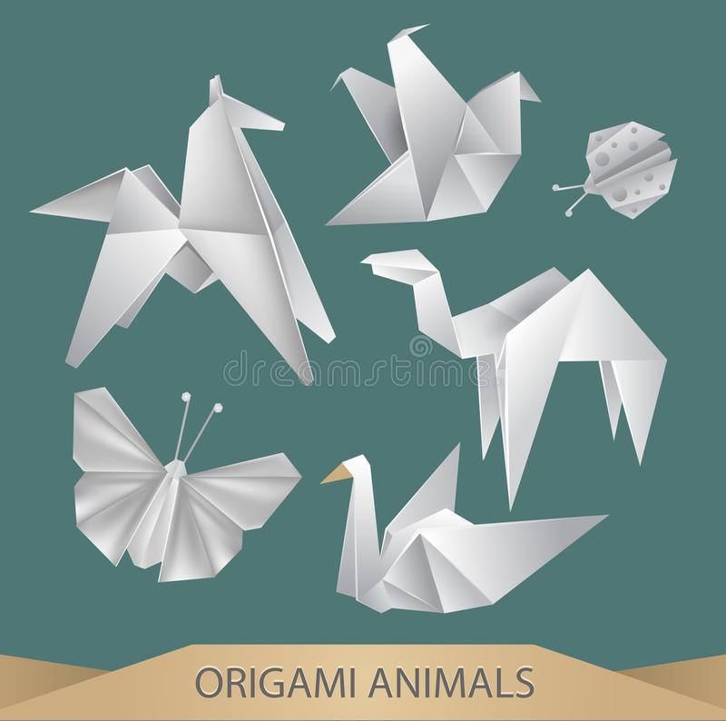 Origami animals. Vector set - butterfly, bird, horse, bug, camel, crane royalty free illustration