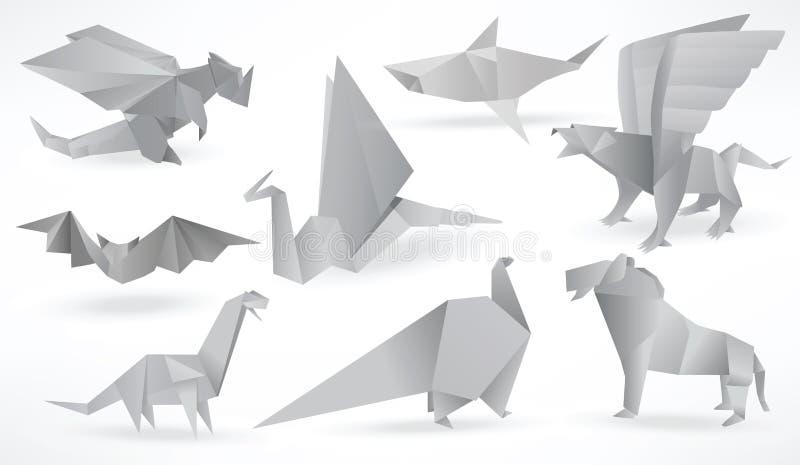 Download Origami Animals Black White Stock Vector