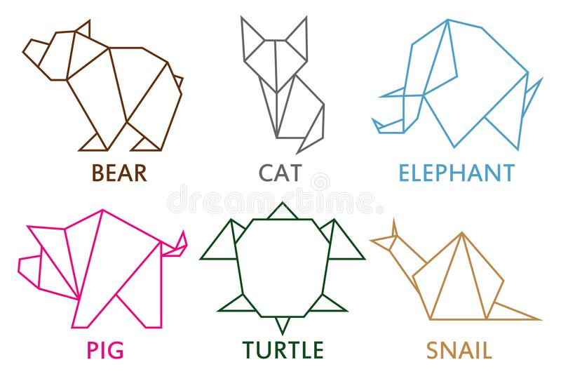 Origami animals collection. Set of line geometric shape for art of folded paper. Template for logo. Vector illustration. vector illustration