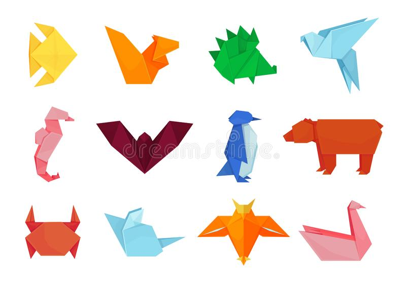Origami animals, design and paper creative toys royalty free illustration