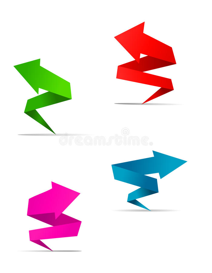 Origami Arrow Banners Royalty Free Stock Images