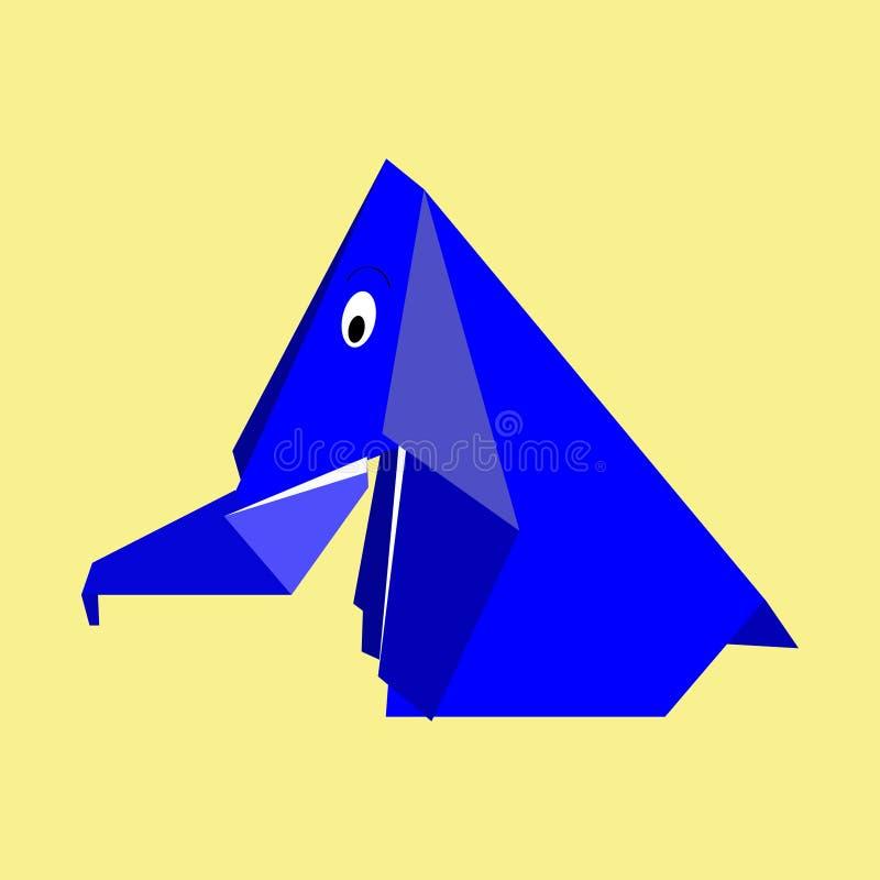 Origami błękitnego papieru słoń ilustracji