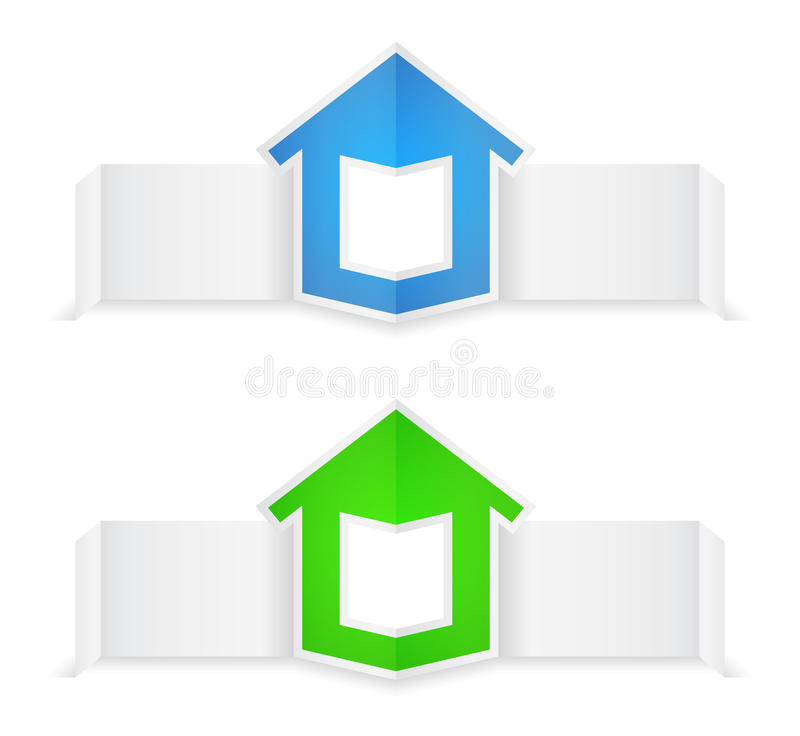 Download Origami banners with house stock vector. Illustration of message - 27162543