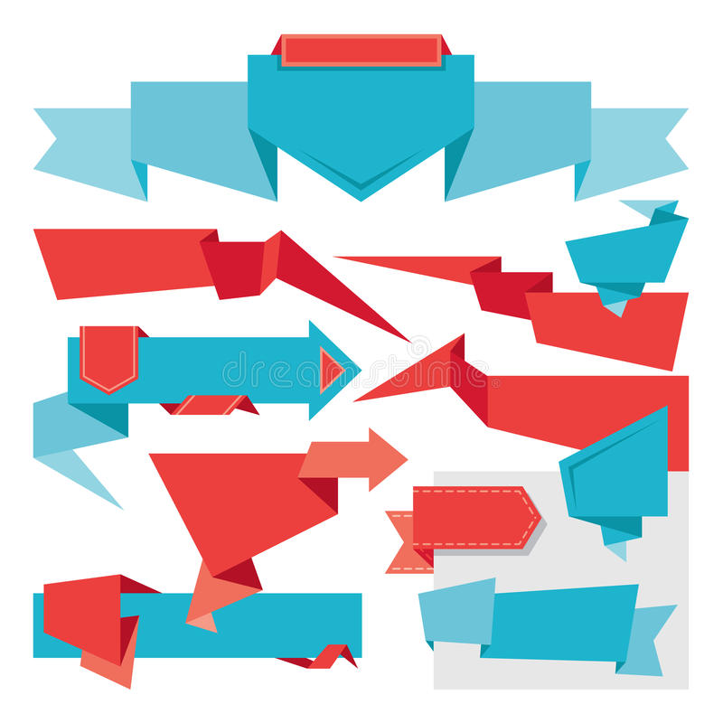 Download Origami Banners Set stock vector. Image of blue, banner - 31191291