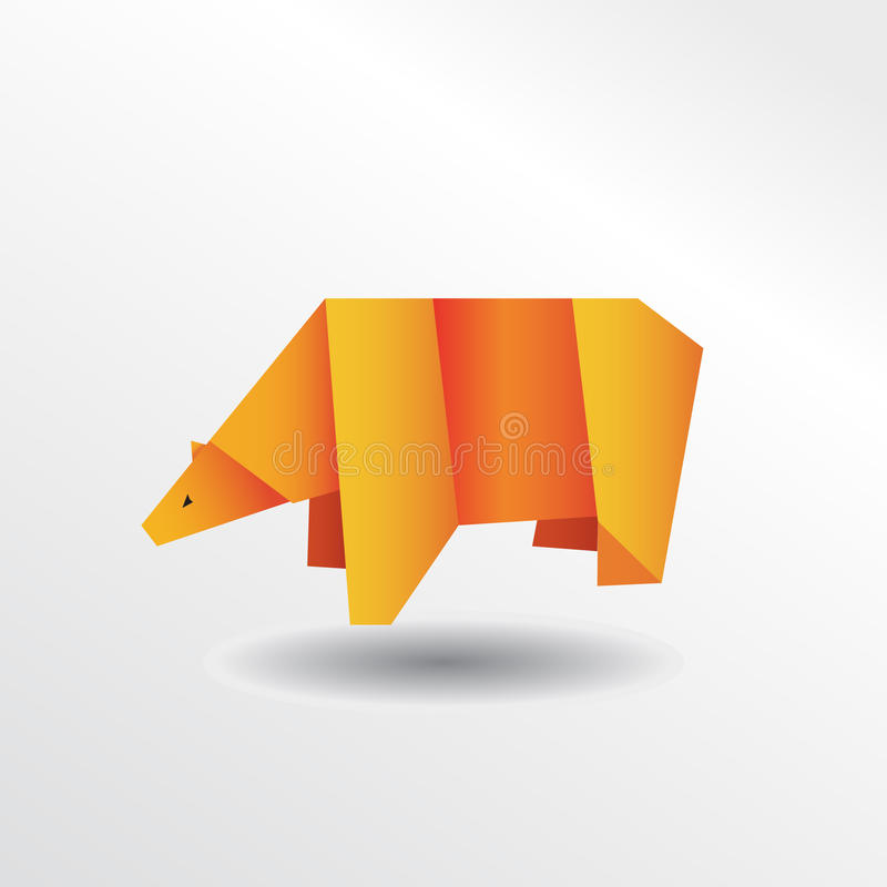 Origami bear. Animal colorful colection paper stock illustration