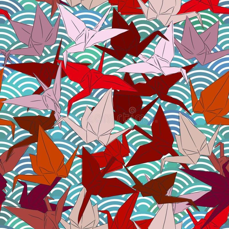 Origami białego papieru żurawie ustawiający kreślą bezszwowego wzór kreskowej natury orientalny tło z japończyk fala okręgu wzore ilustracja wektor