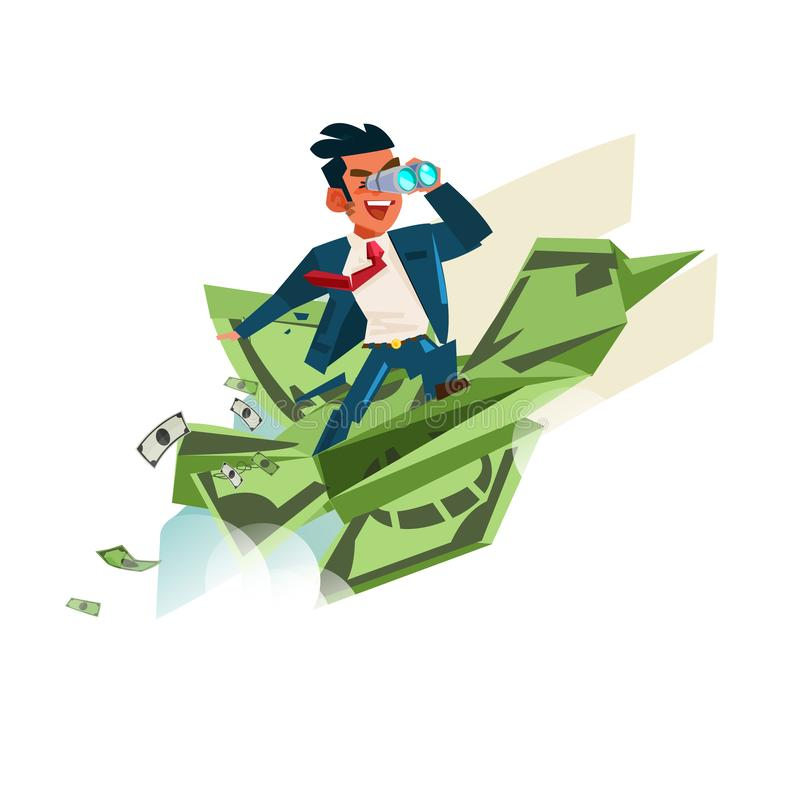 Origami Bird from banknotes with businessman holding binocular royalty free illustration