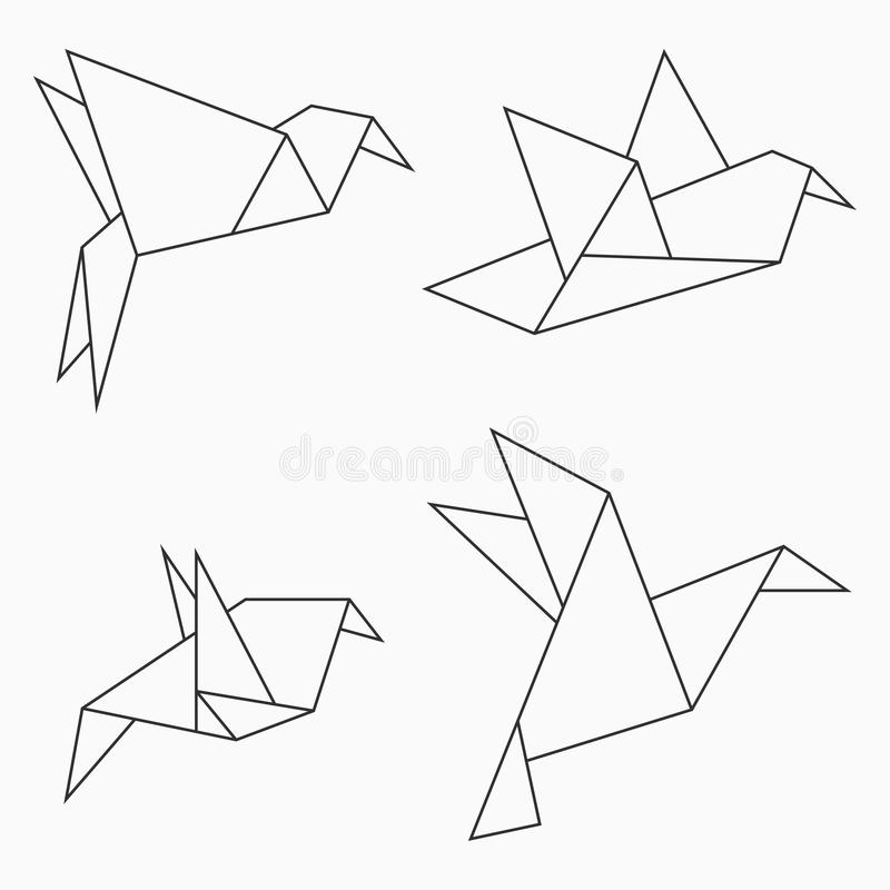 Origami bird collection. Set of line geometric shape for art of folded paper. Vector. Origami bird collection. Set of line geometric shape for art of folded vector illustration