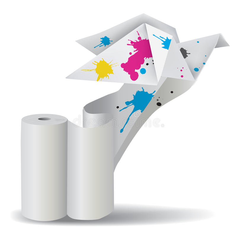 Origami bird with ink unwinding paper. Illustration of folded paper dove with splashes of ink unwinding a roll of paper. Concept for presenting color printing royalty free illustration