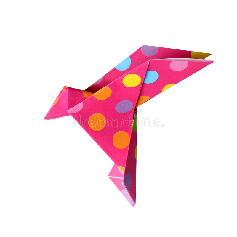 Origami bird. Origami paper bird, isolated on white background royalty free stock photos