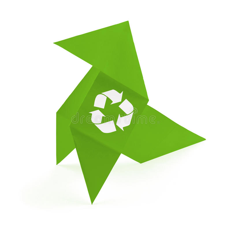 Download Origami Bird With Recycling Symbol Stock Image - Image: 15146889
