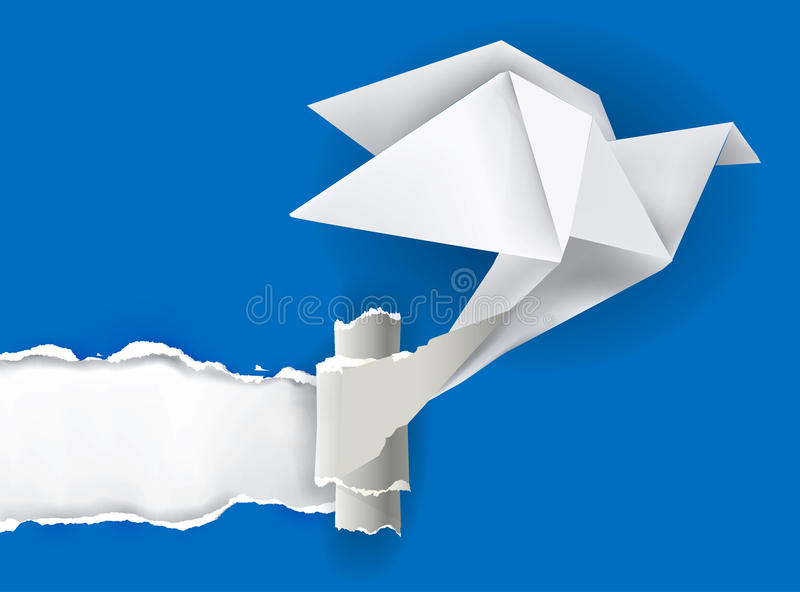 Origami bird ripping paper. Vector illustration of Origami bird ripping paper with place for your image or text. Theme symbolizing revelation, uncovered royalty free illustration