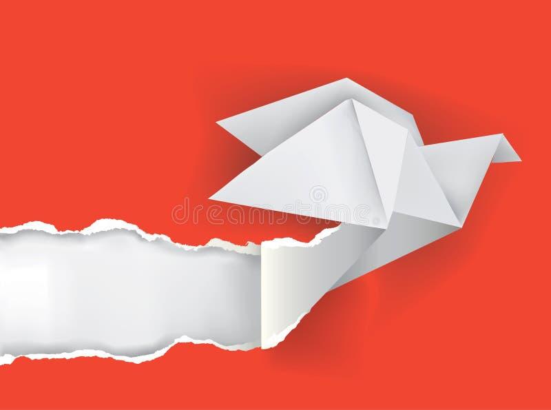 Origami bird ripping paper. Vector illustration of Origami bird ripping paper with place for your image or text Theme symbolizing revelation, uncovered stock illustration