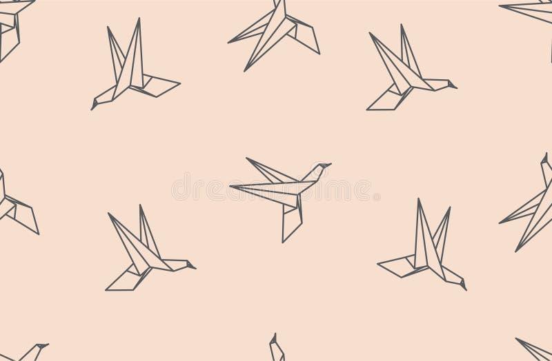 Origami bird seamless pattern. Japanese origami bird seamless pattern vector illustration