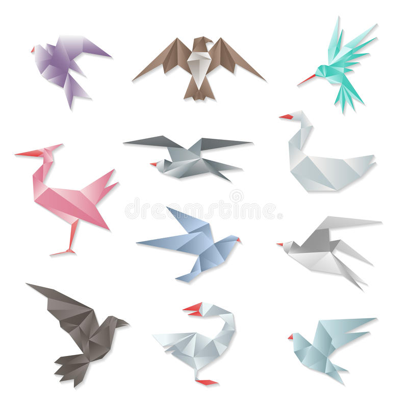 Origami bird set. Vector 3d abstract paper flying birds with wings on white background. Geometric design graphic animals illustration stock illustration
