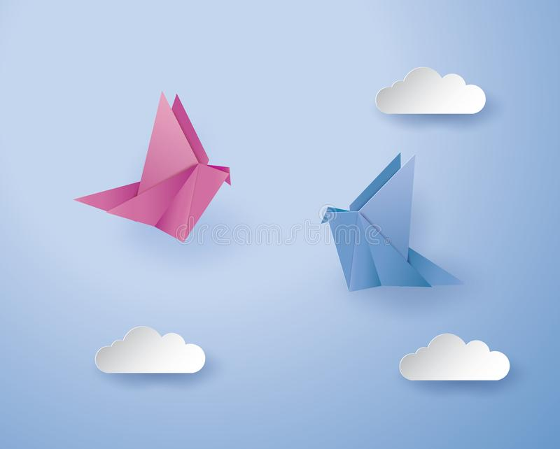 Origami birds on blue background with cloud royalty free stock images