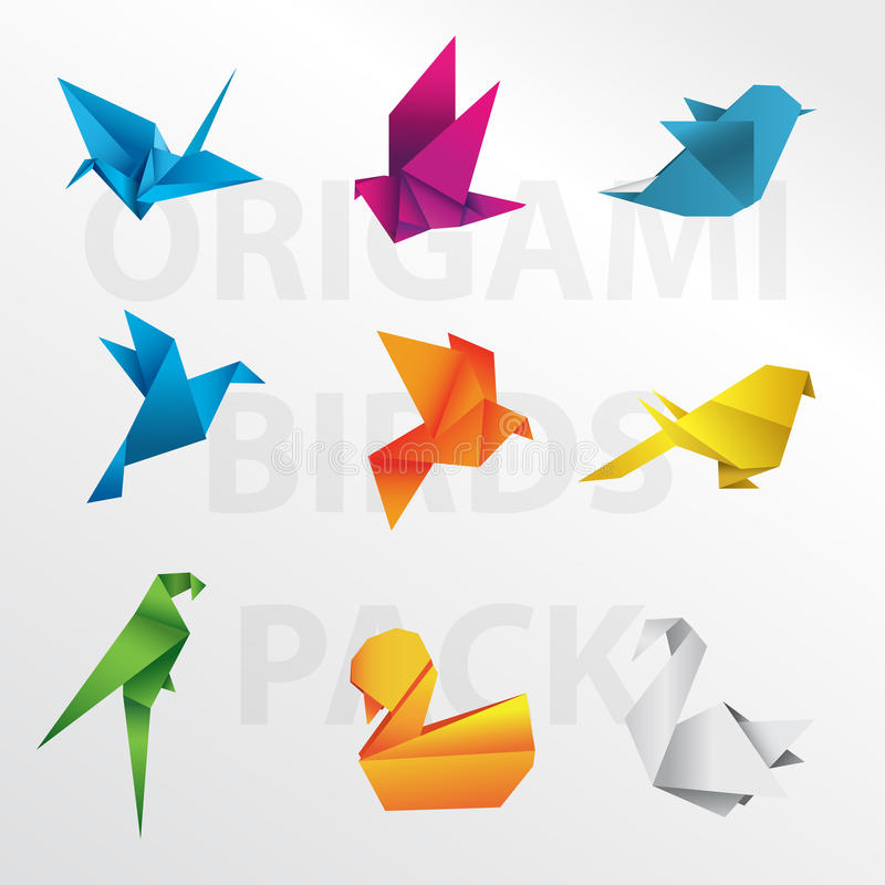 Origami birds collection. Colorful animal paper vector illustration