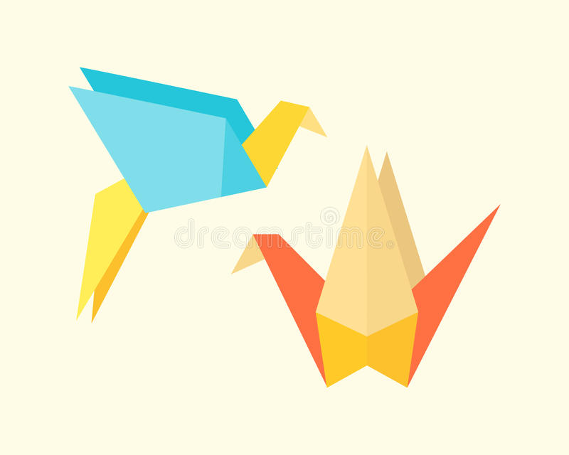 Origami birds crane abstract nature icon craft symbol art creative decoration japan and paper fly wing dove geometric. Concept vector illustration. Graphic asia royalty free illustration