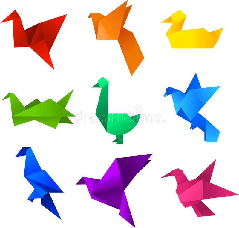 Origami birds. Icons set. With nine (9) different  in different colours like: red, orange, yellow, green, turquoise, blue, light blue, violet and pink royalty free illustration