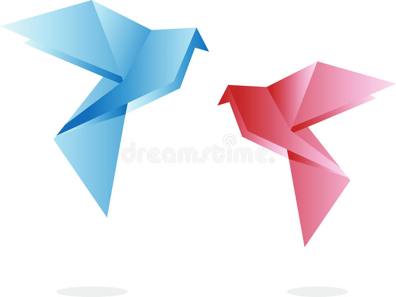 Origami birds. Print for t-shirts vector illustration