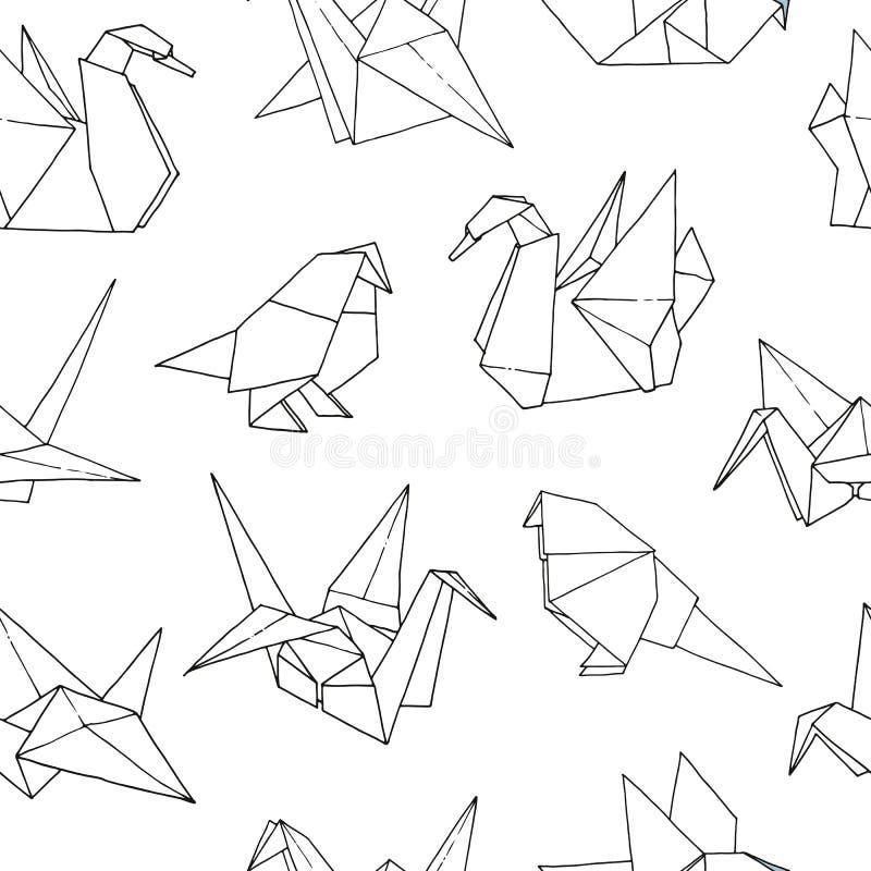 Origami birds shapes vector seamless pattern. Hand drawn folder paper japan art animals background: crane, swan, dove, parrot royalty free illustration