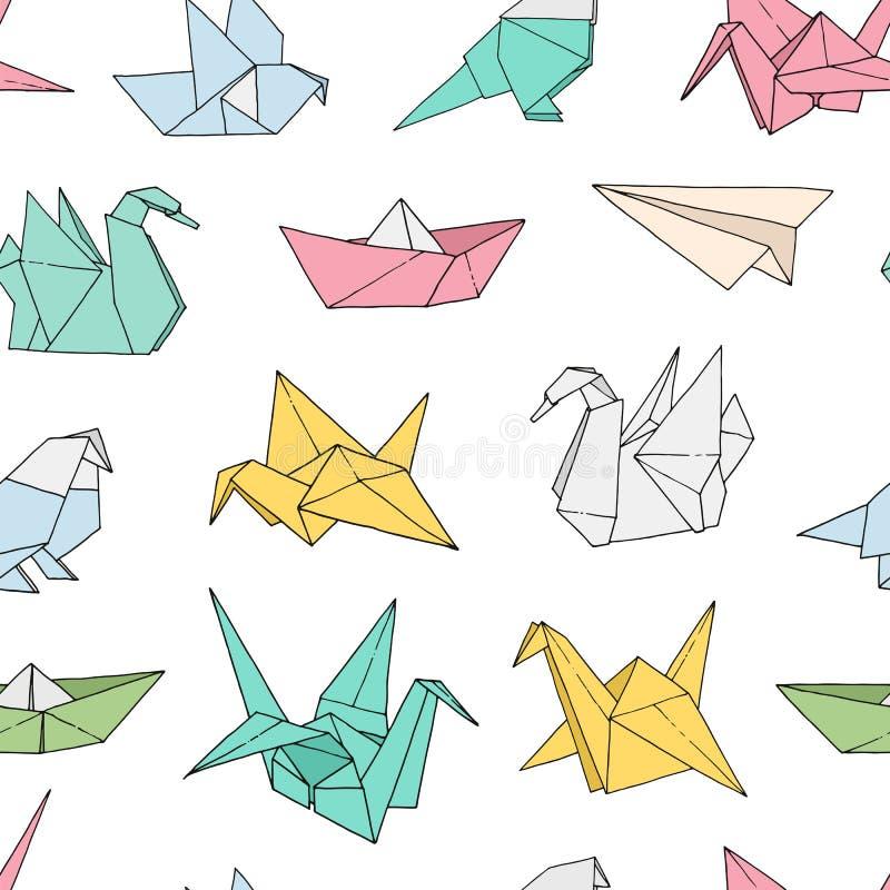 Origami birds shapes vector seamless pattern. Hand drawn folder paper japan art color animals background: crane, swan, dove, parrot royalty free illustration