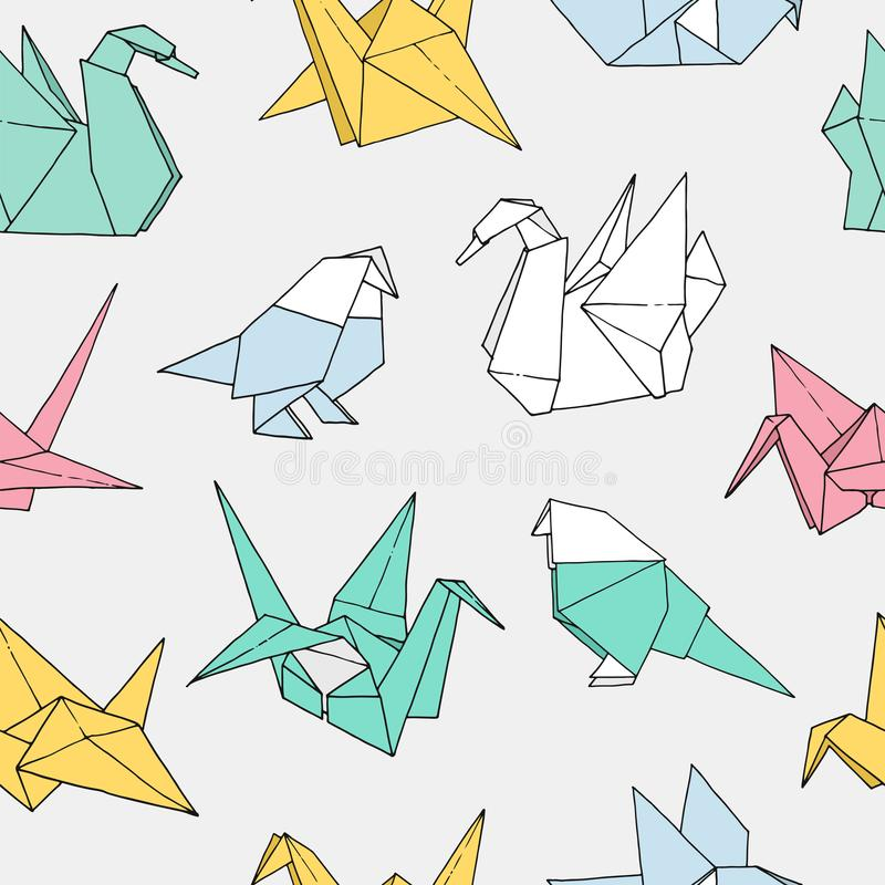 Origami birds shapes vector seamless pattern. Hand drawn folder paper japan art color animals background: crane, swan, dove, parrot vector illustration