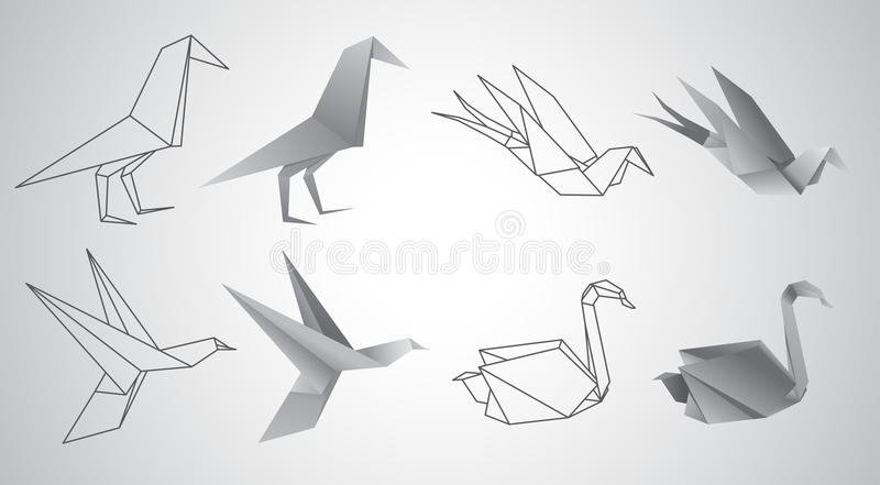 Origami birds vector set stock illustration