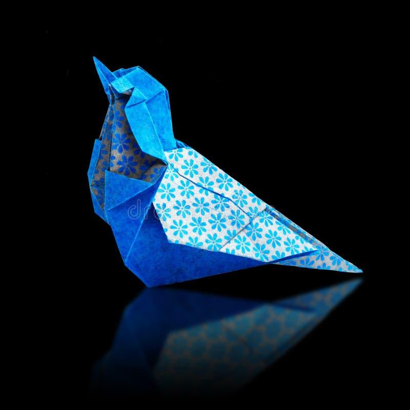Origami blauwe vogel royalty-vrije stock afbeeldingen