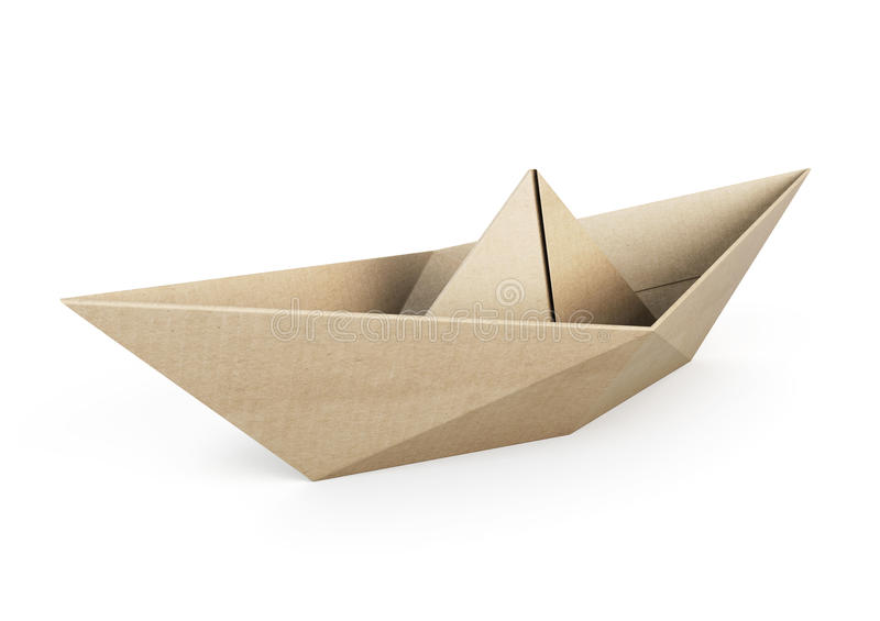 Origami boat out recycle paper on white background stock illustration
