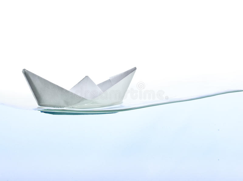 Origami Boat On Water Royalty Free Stock Image