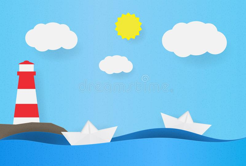 Origami boat on the waves. Paper ship background with lighthouse on the shore, clouds and sun. Vector illustration of stock illustration
