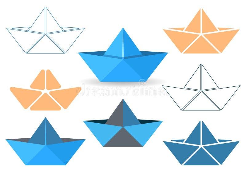 Origami Boote stock abbildung