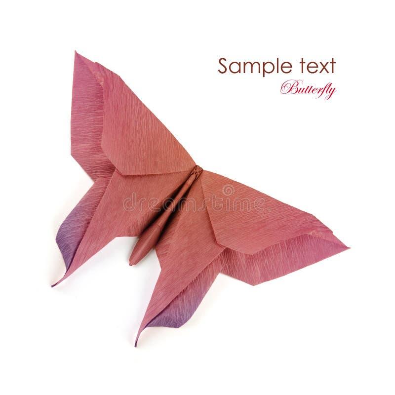Origami brown purpurowy motyl zdjęcia stock