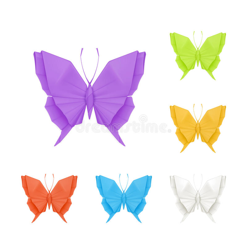 Origami butterflies, set. Computer illustration on white background vector illustration