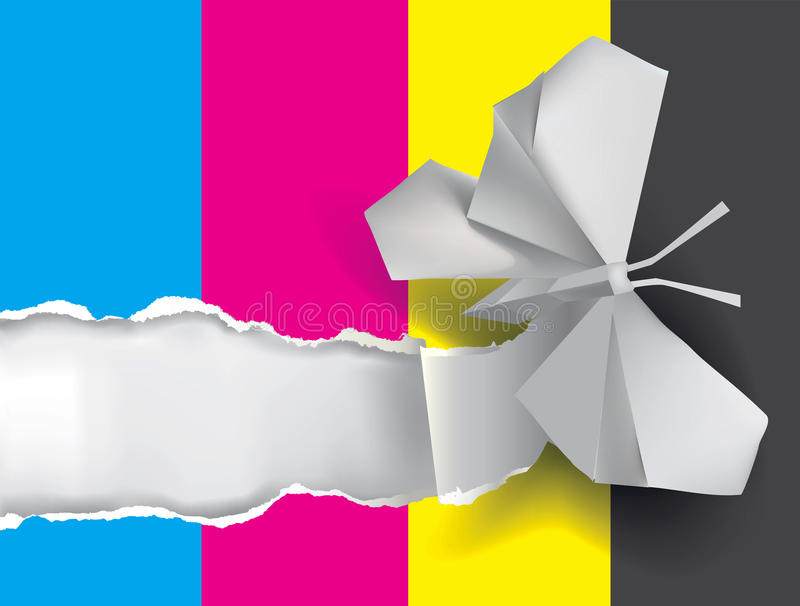 Origami butterfly ripping paper with print colors. Vector illustration of Origami butterfly ripping paper with print colors. Concept for presenting color vector illustration