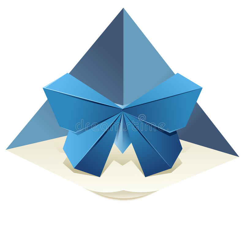 Origami Butterfly. Vector image of an origamy blue butterfly vector illustration