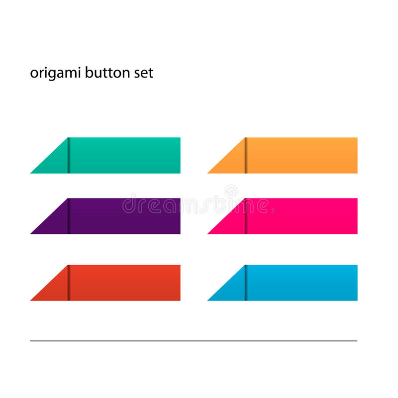 Origami button set. Color origami button set ready for your text stock illustration