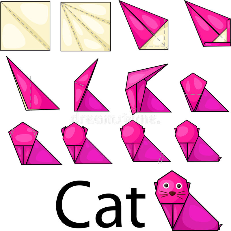 Origami cat. Illustrator of origami with cat stock illustration