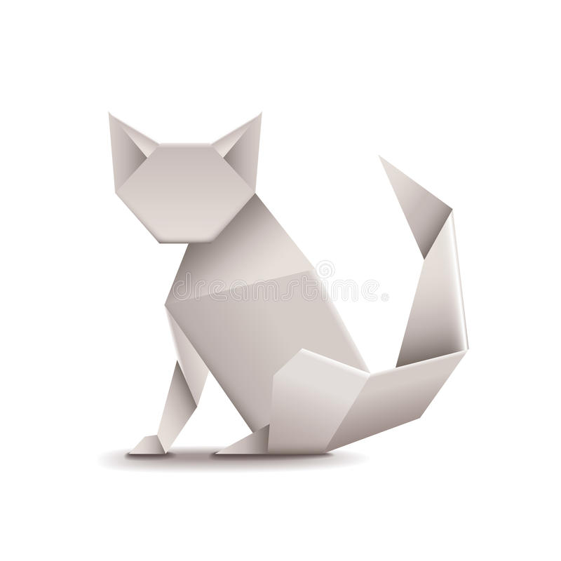 Origami cat on white vector. Origami cat on white photo-realistic vector illustration royalty free illustration