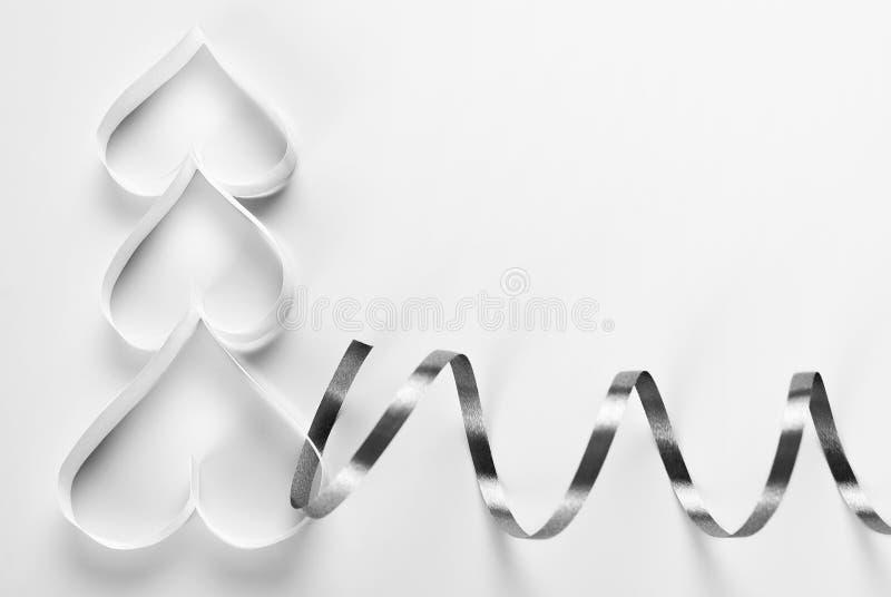 Origami choinka z tasiemkową dekoracją fotografia stock