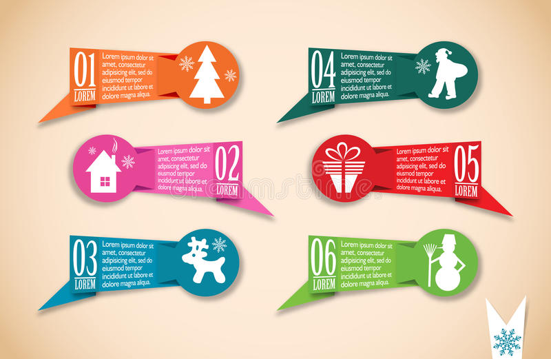 Origami Christmas banners set, vector. Illustration vector illustration