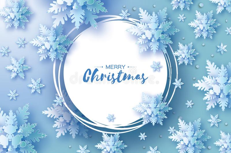 Origami Christmas Greetings card. Snowfall. Paper cut snow flake. Happy New Year. Winter snowflakes background. Circle. Frame. Space for text. Blue. Holidays vector illustration