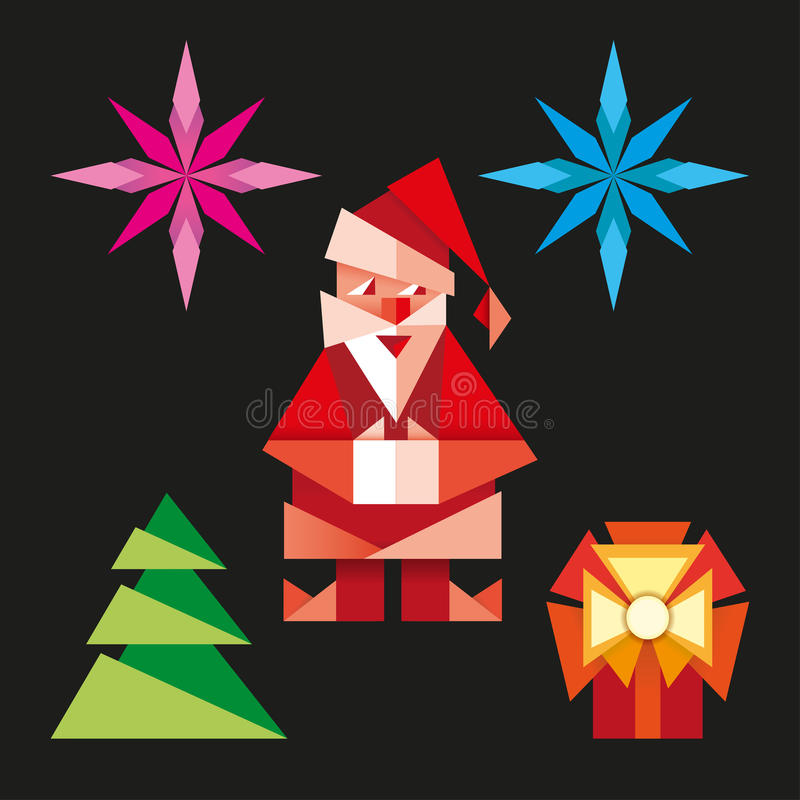 Origami christmas icons cartoon illustration stock illustration