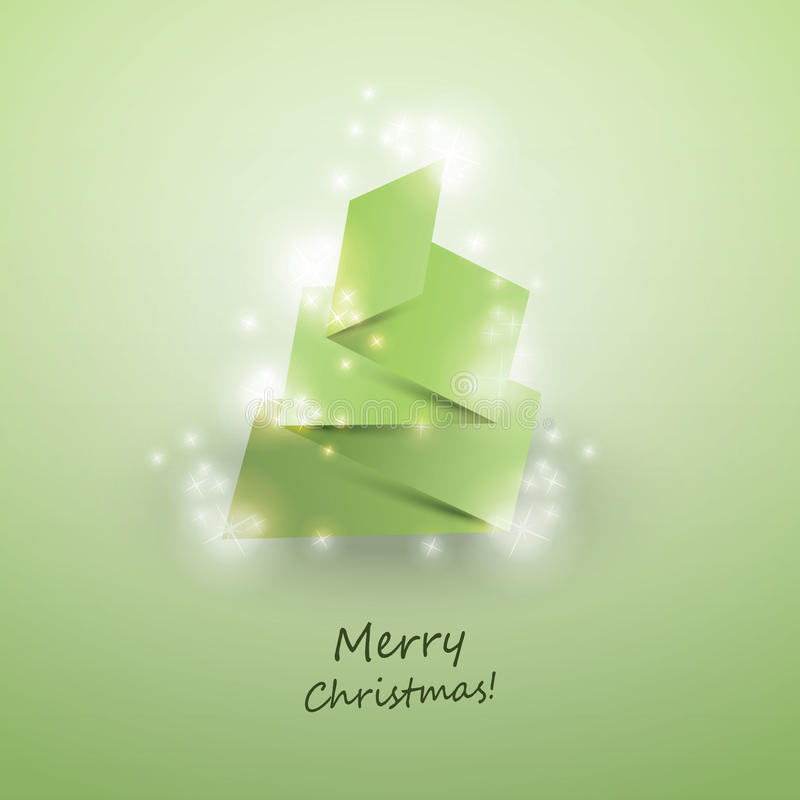 Download Origami Christmas Tree Card Stock Vector - Illustration of merry, minimal: 22439678