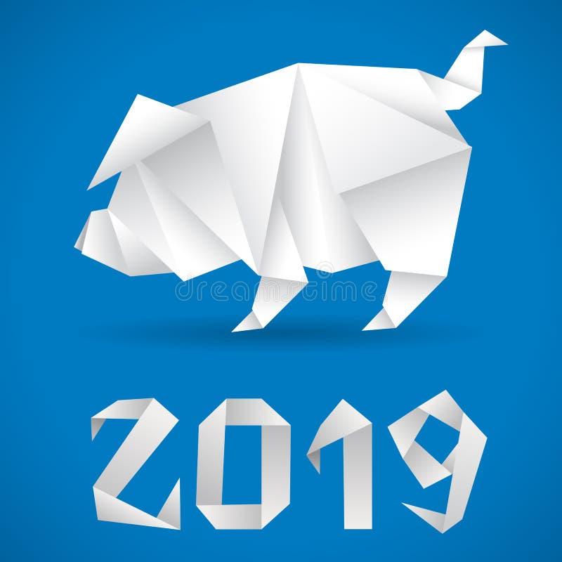 Origami cinesi 2019 del maiale del nuovo anno illustrazione di stock
